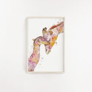 Geometric Giraffe Watercolour Print