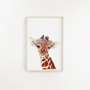 Baby Giraffe Watercolour Print