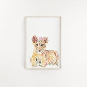 Baby Lion Watercolour Print