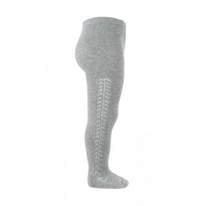 Openwork warm-cotton tights // Light Grey