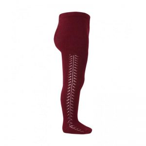 Openwork warm-cotton tights // Brick Red