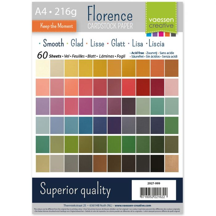 Florence • Cardstock smooth multipack A4 Assorti