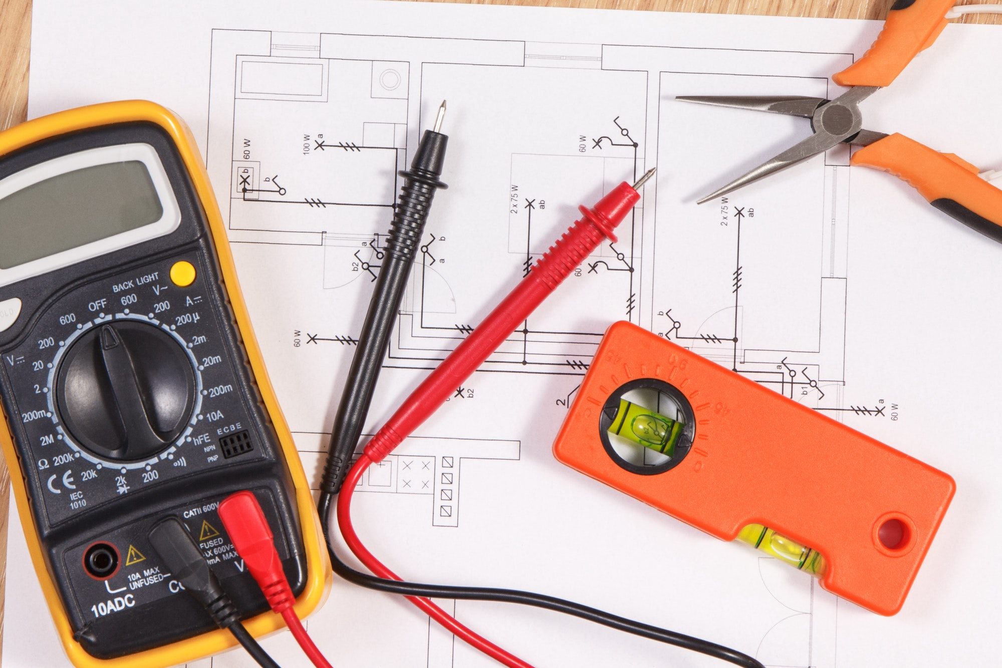 Electrical diagrams, multimeter for measurement in electrical installation