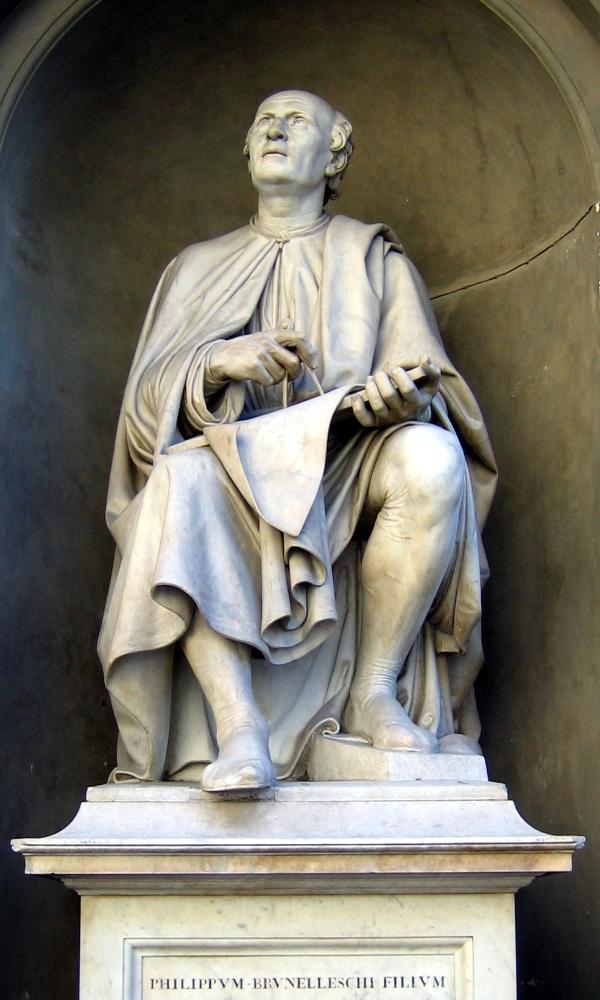 Filippo Brunelleschi, standbeeld aan de dom van Florence