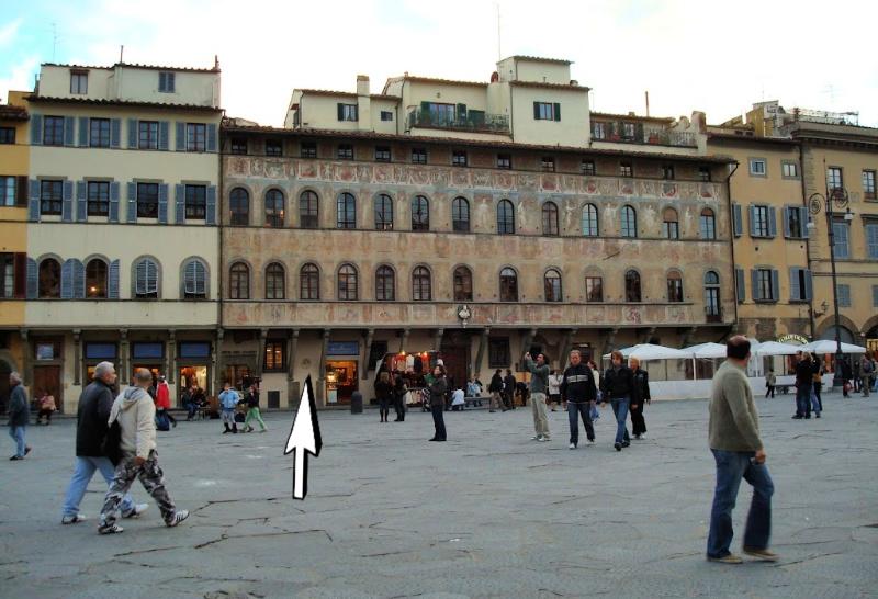 Marmeren cirkel op Palazzo dell'Antella, Piazza Santa Croce, Florence