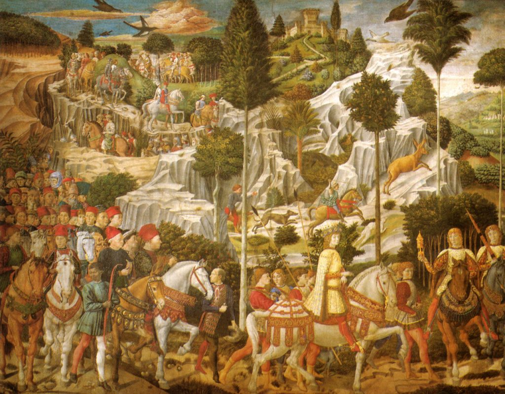 Detail uit Benozzo Gozzoli, Optocht van de koningen, fresco in de Cappella dei Magi, Palazzo Medici-Riccardi