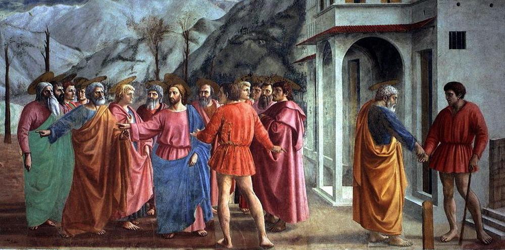 Masaccio, De cijnspenning in de Brancacci-kapel in Santa Maria del Carmine