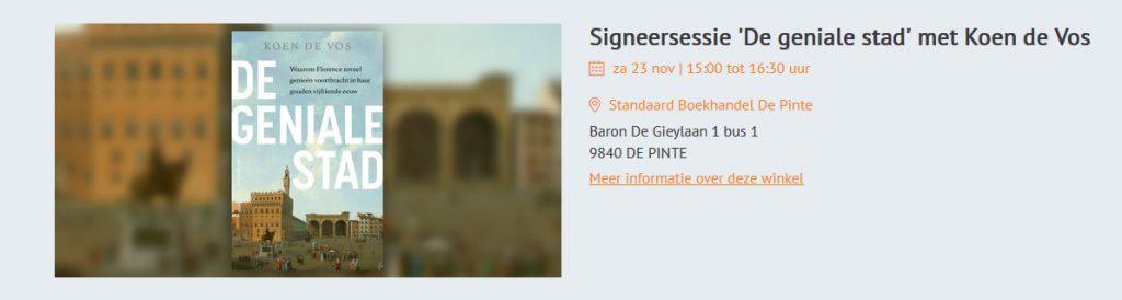 Signeersessie Koen De Vos in Standaard boekhandel De Pinte