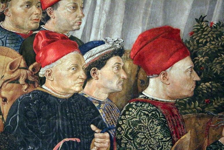 Fragment van fresco in Cappella de' magi in Palazzo Medici-Riccardi in Florence