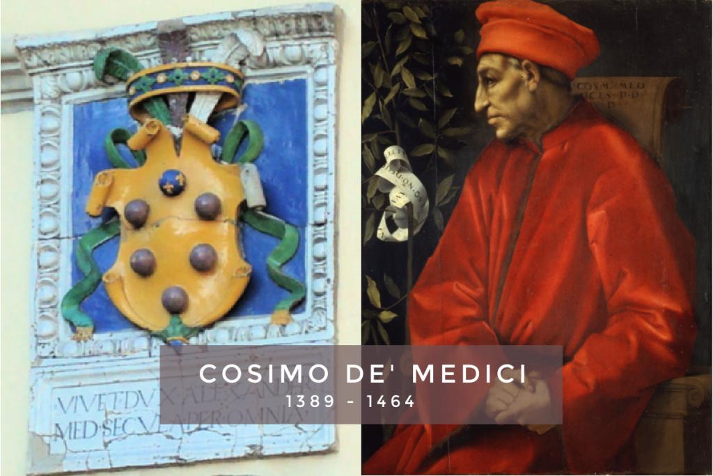 Portret Cosimo de' Medici en het embleem van de Medici bestaande uit de 6 ballen