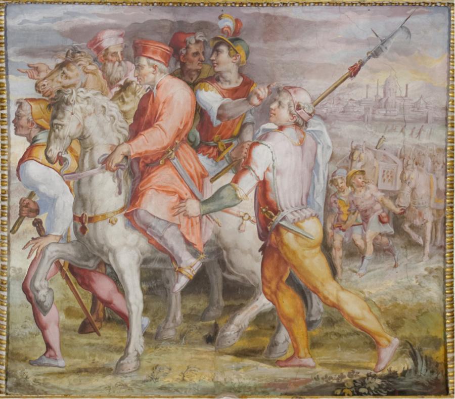 Fresco van Vasari in Palazzo Vecchio in Florence. Cosimo de' Medici wordt verbannen uit Florence