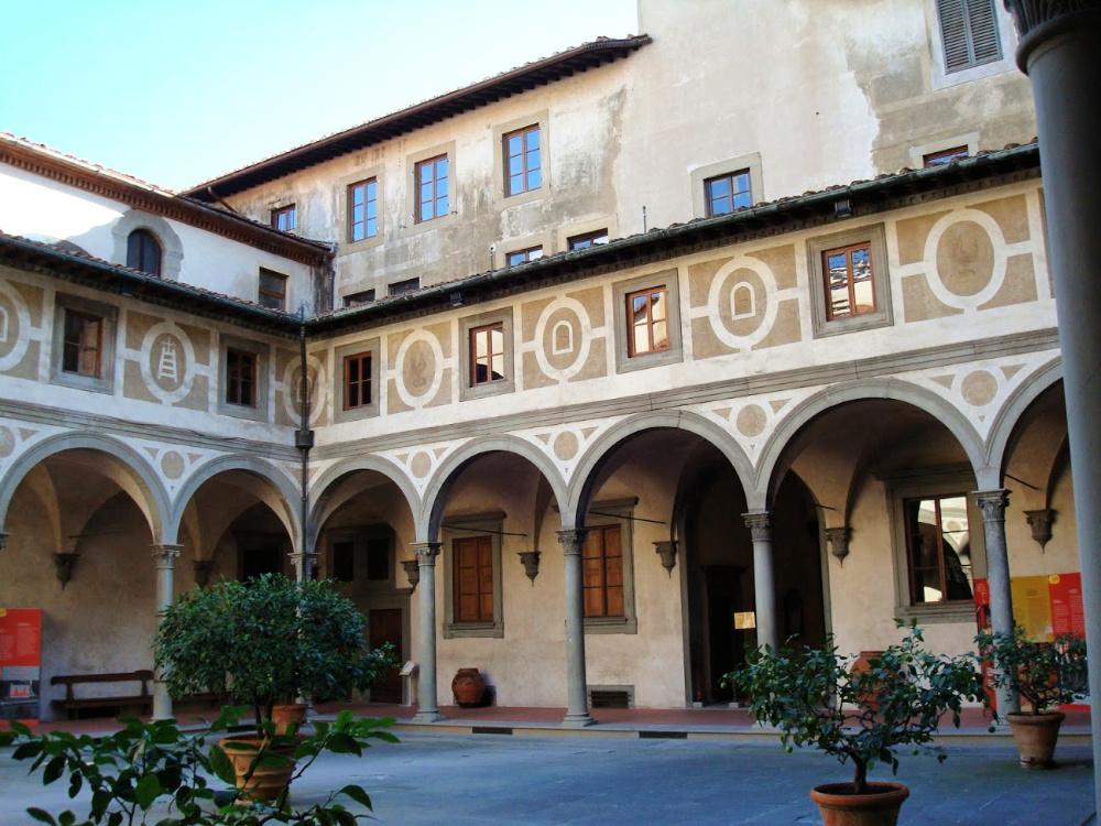 Courtyard of Ospedale degli Innocenti - Foundling Hospital in Florence