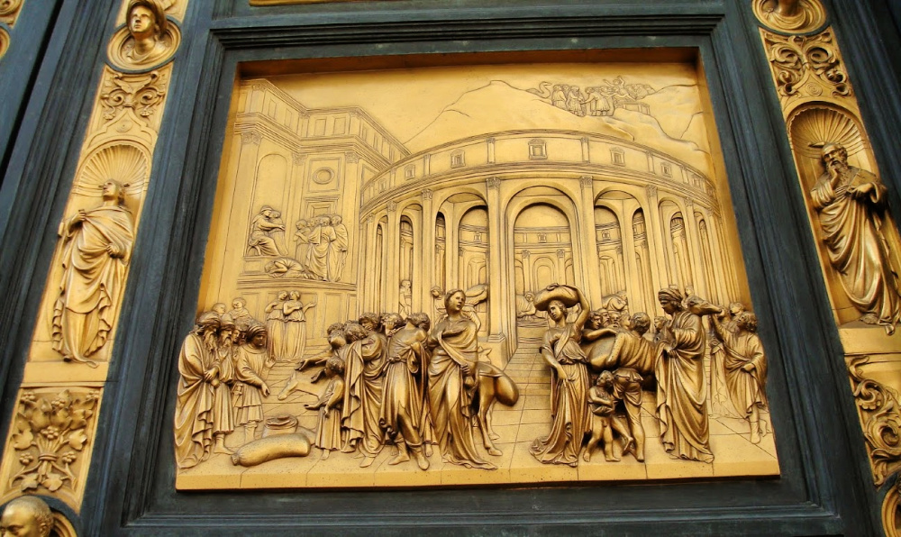 Detail of the Gate of Paradise by Ghiberti, Story of Joseph, Baptistery San Giovanni in Florence