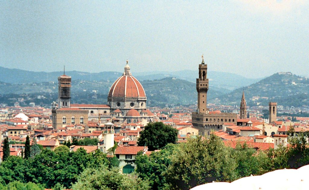 Panoramic view of Florence with the Dome and Palazzo Vecchio