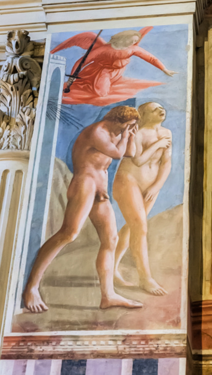 Masaccio, The Expulsion from the Garden of Eden in Brancacci Chapel in Florence