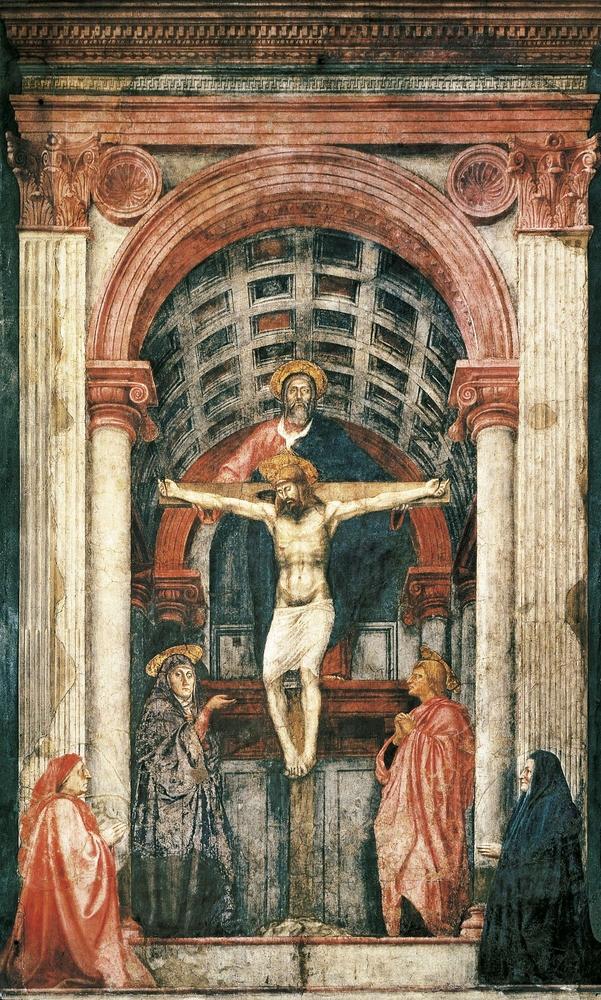 Masaccio, Holy Trinity (Trinità), fresco in Santa Maria Novella in Florence (Firenze)