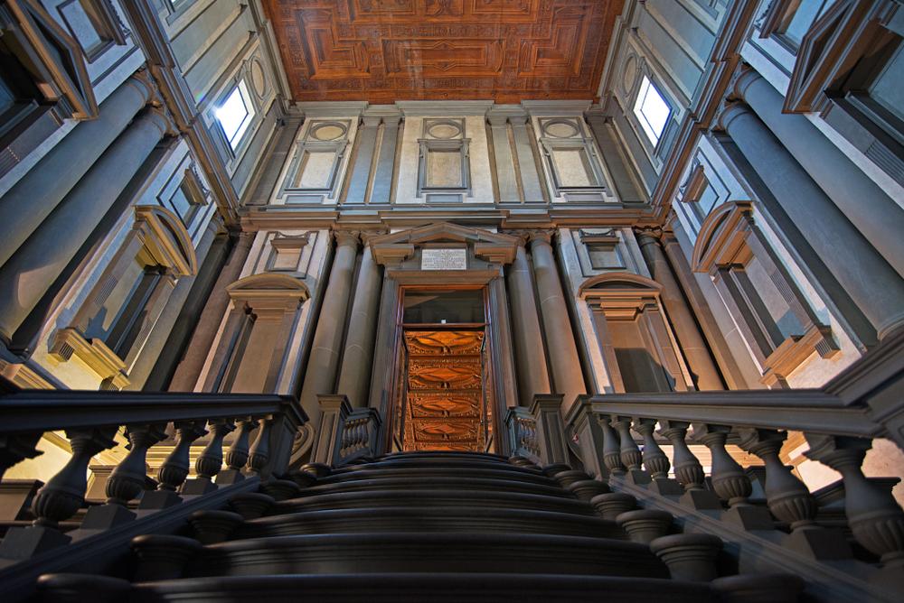 Vestibule of the Biblioteca Medicea Laurenziana in San Lorenzo, made by Michelangelo