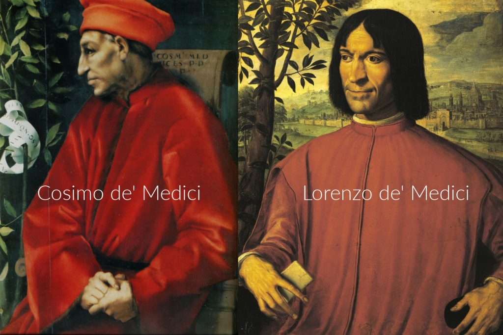 Portretten van Cosimo de' Medici de oudere (Pontormo) en van Lorenzo de' Medici (Macchietti)