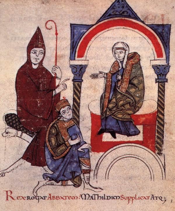 Hugo van Cluny, keizer Hendrik IV en gravin Matilda van Toscane - Gang naar Canossa.