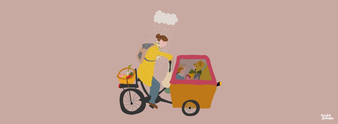 tekening van moeder op de bakfiets met kinderen