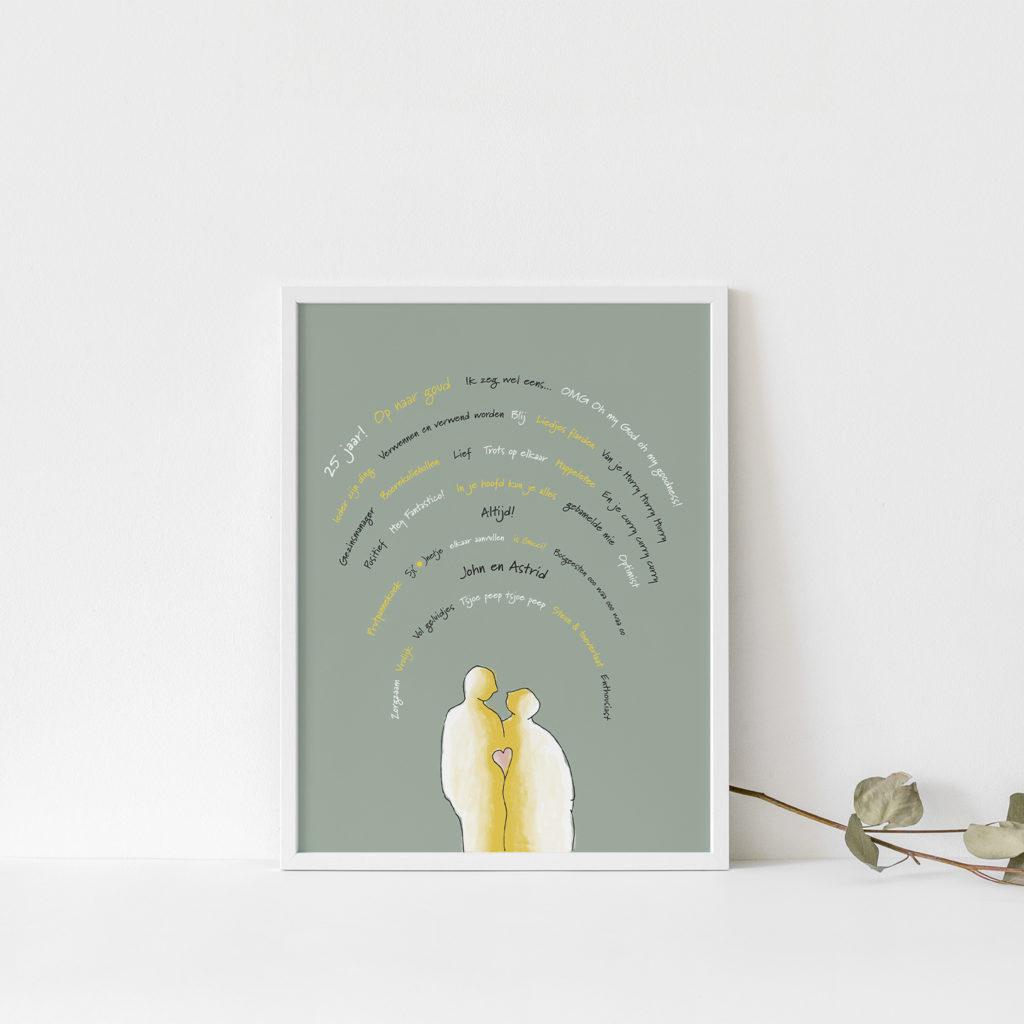 afbeelding van poster met illustratie op maat als cadeau jubileum huwelijk