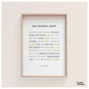 woordenposter 5 persoonlijke cadeaus voor een vriendin Studio Koester Booster