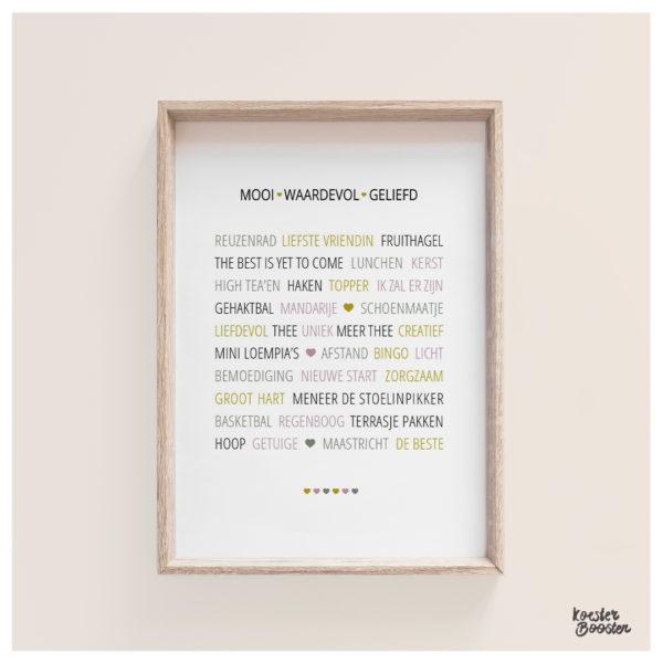 woordenposter voor een vriendin Studio Koester Booster