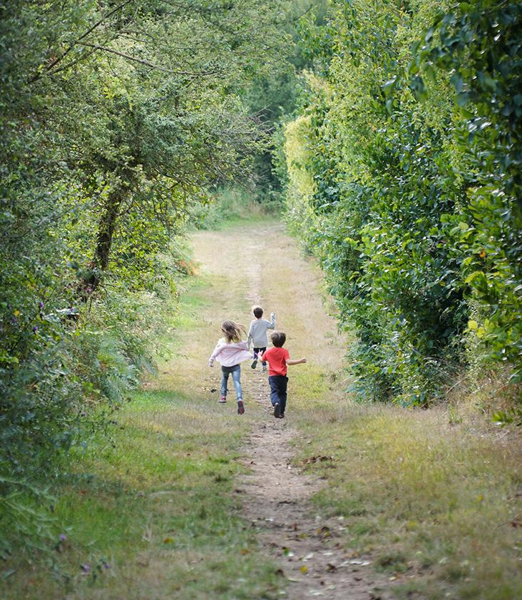 kinderen rennen in het bos