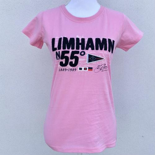 Rosa t-shirt med Limhamn på bröstet från Kokkolit Rosa t-shirt Limhamn Kokkolit