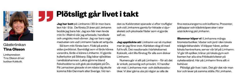 Tina Olsson från Kokkolit är Gästkrönikör i HALLÅ västra Malmö 27 februari 2019