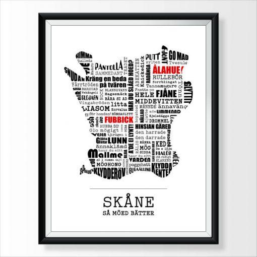 Skåne poster med skånska ord och uttryck 30x40 cm från Kokkolit