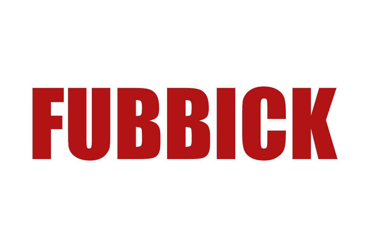 Skånska ordet fubbick skrivet i röda versaler mot vit bakgrund