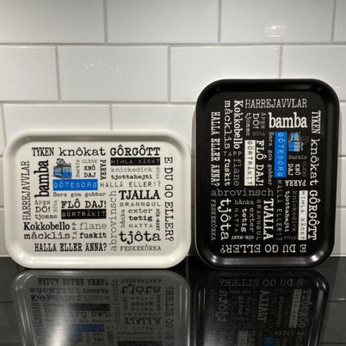 Frukostbricka göteborg med göteborgska i vitt och svart