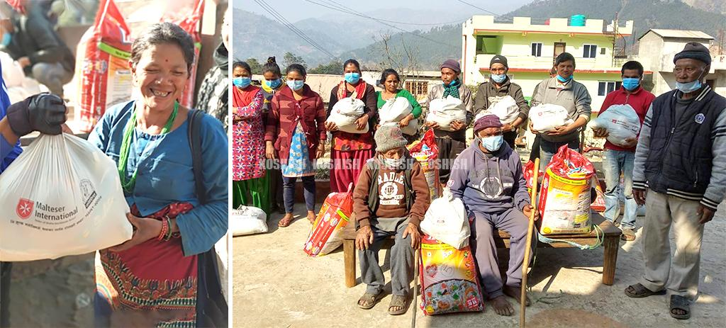 left image, a smiling woman carrying relief material on a bag. On right image, group of people including elders received relief materials.