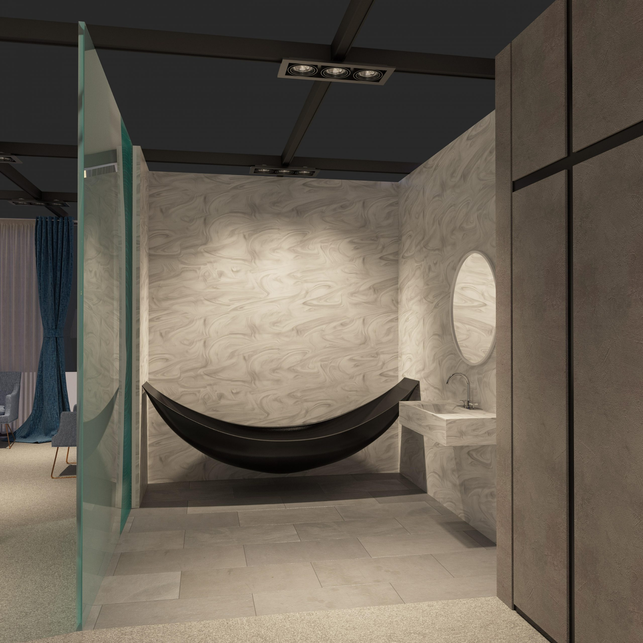 Hotel room of the future render of the bathroom design