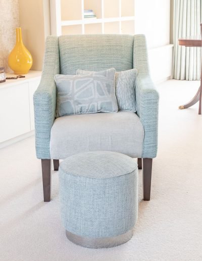 Blue living room chair and foot stall