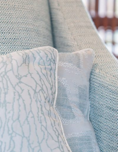 Cushions in duck egg blue with modern design