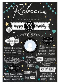 Meilensteintafel Chalkboard Geschenk Geburtstag Retro Star Mann Frau Geburtstagstafel Personalisiert Gelb