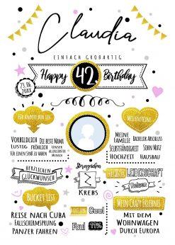 Meilensteintafel Chalkboard Geschenk Geburtstag Retro Star Mann Frau Whiteboard Personalisiert Gold Rosa