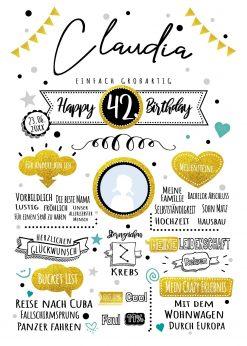 Meilensteintafel Chalkboard Geschenk Geburtstag Retro Star Mann Frau Whiteboard Personalisiert Gold Türkis