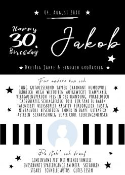 Chalkboard Meilensteintafel Geschenk Runder 30. Geburtstag Personalisierbar Mann Foto Schwarz Weiß