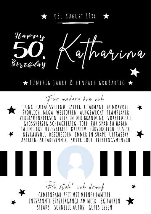 Chalkboard Meilensteintafel Geschenk Runder 50. Geburtstag Personalisierbar Frau Foto Schwarz Weiß