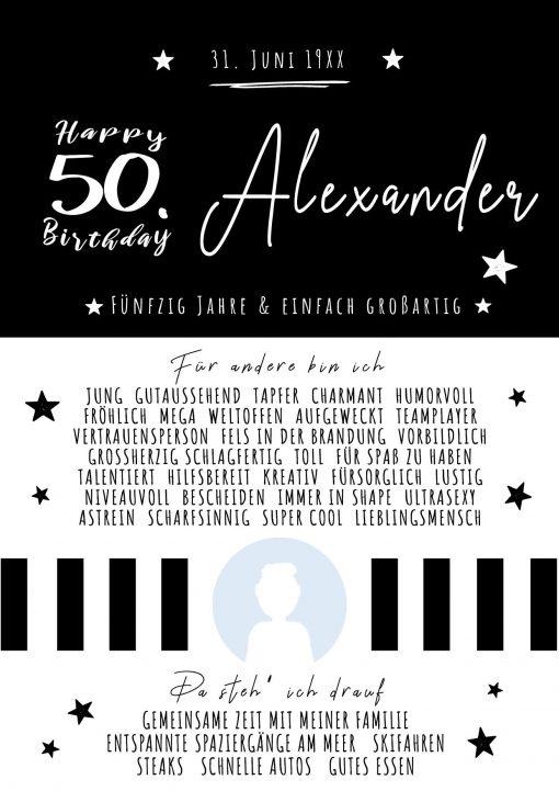Chalkboard Meilensteintafel Geschenk Runder 50. Geburtstag Personalisierbar Mann Foto Schwarz Weiß