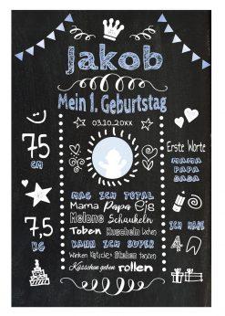 Meilensteintafel 1. Geburtstag Geschenk Personalisiert Chalkboard Geburtstagstafel Classic Blau Weiß Kreidetafel Mädchen Junge