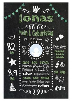 Meilensteintafel 1. Geburtstag Geschenk Personalisiert Chalkboard Geburtstagstafel Classic Grün Kreidetafel Mädchen Junge