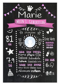 Meilensteintafel 1. Geburtstag Geschenk Personalisiert Chalkboard Geburtstagstafel Classic Rosa Kreidetafel Mädchen Junge