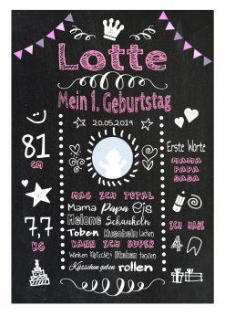 Meilensteintafel 1. Geburtstag Geschenk Personalisiert Chalkboard Geburtstagstafel Classic Rose Lila Kreidetafel Mädchen Junge
