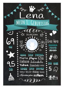 Meilensteintafel 1. Geburtstag Geschenk Personalisiert Chalkboard Geburtstagstafel Classic Türkis Kreidetafel Mädchen Junge