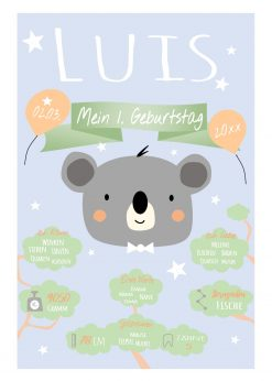 Meilensteintafel 1. Geburtstag Geschenk Personalisiert Koala Bär Geburtstagstafel Junge Mädchen Chalkboard