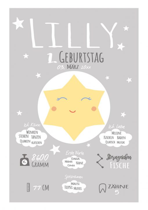 Meilensteintafel 1. Geburtstag Geschenk Personalisiert Stern Geburtstagstafel Junge Mädchen Chalkboard